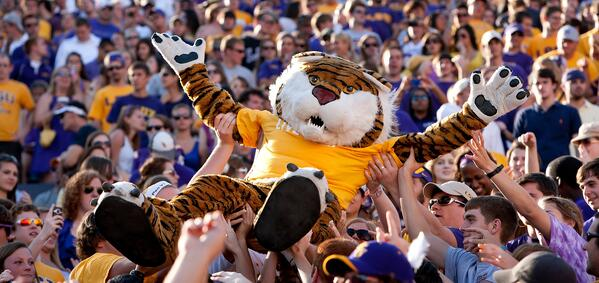 LSU0675 Mike the Tiger Crowd Surfing